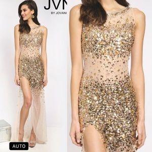 Jovani Nude gold silver rhinestone crystal dress